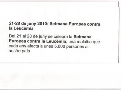 21-28 juny 2010: Setmana Europea contra la LEUCEMIA